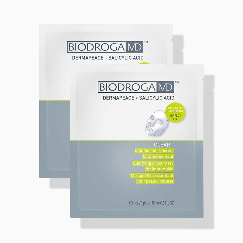 Biodroga Clear+ Klärende Vliesmaske für unreine Haut Doppelpack